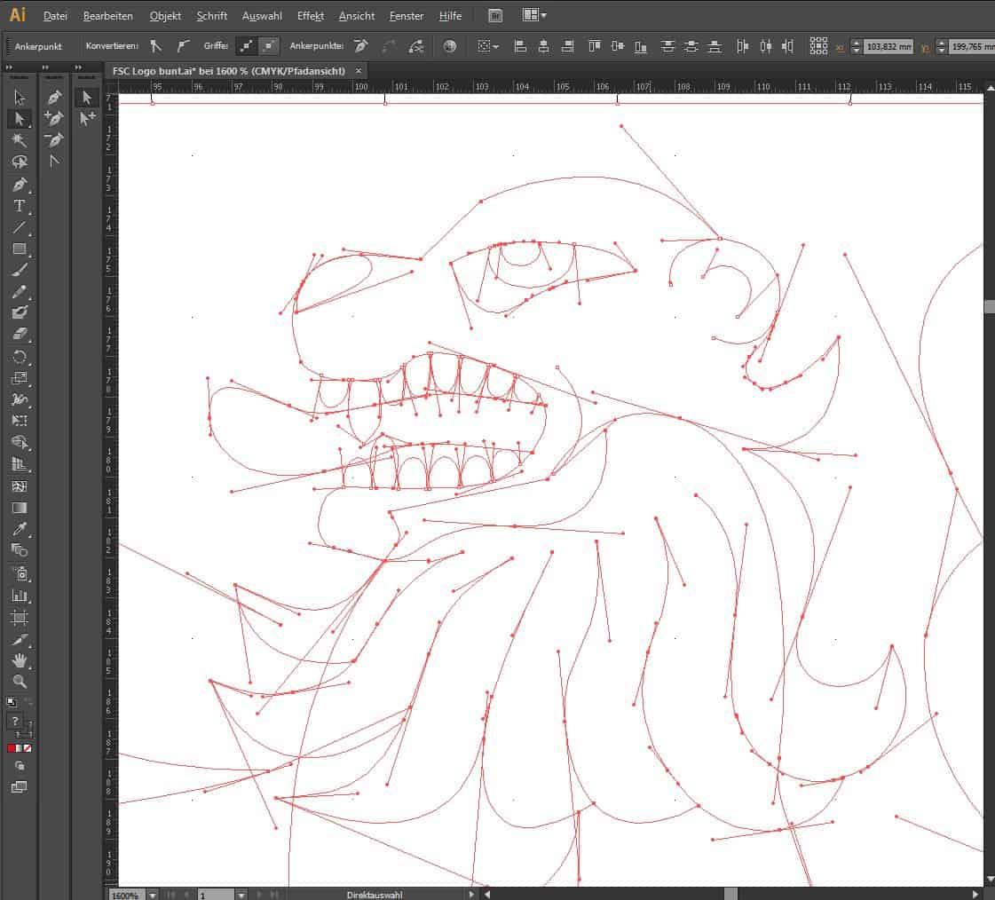 Linien konstruierendes Zeichnen mit einem Profi-Programm