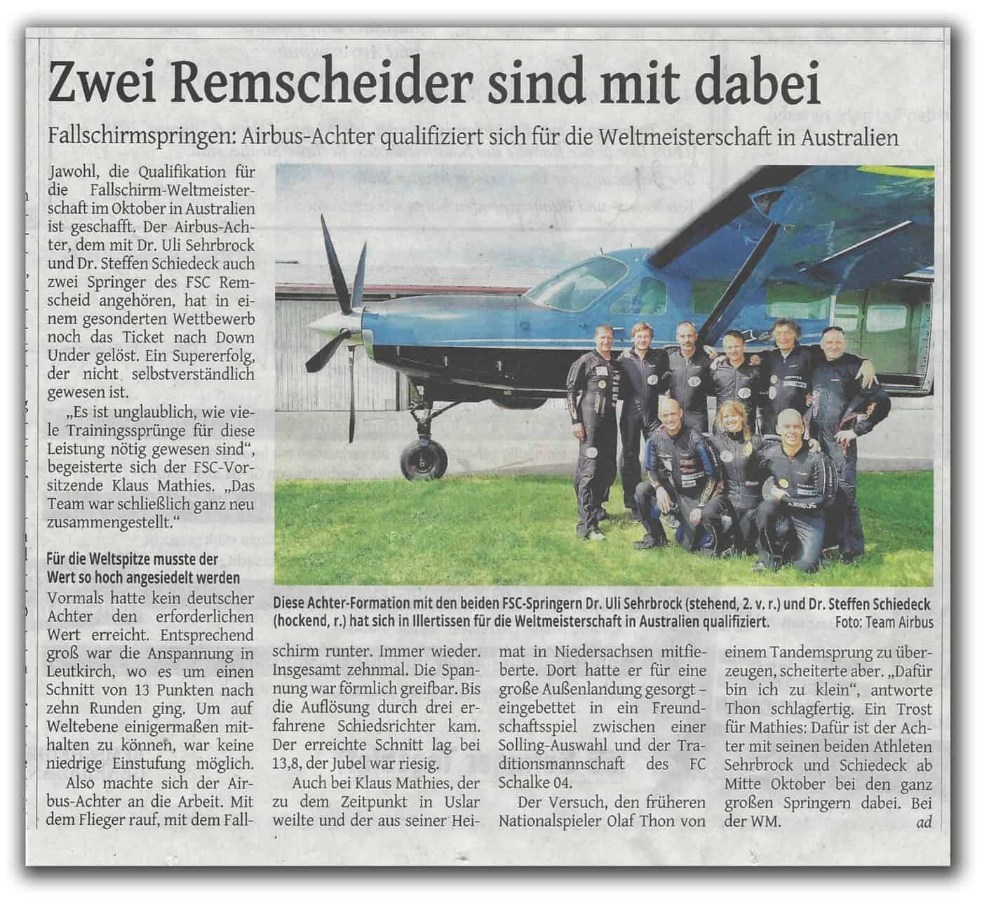 Pressebericht Deutschland Freifall Formations Achter Team hat sich qualifiziert.