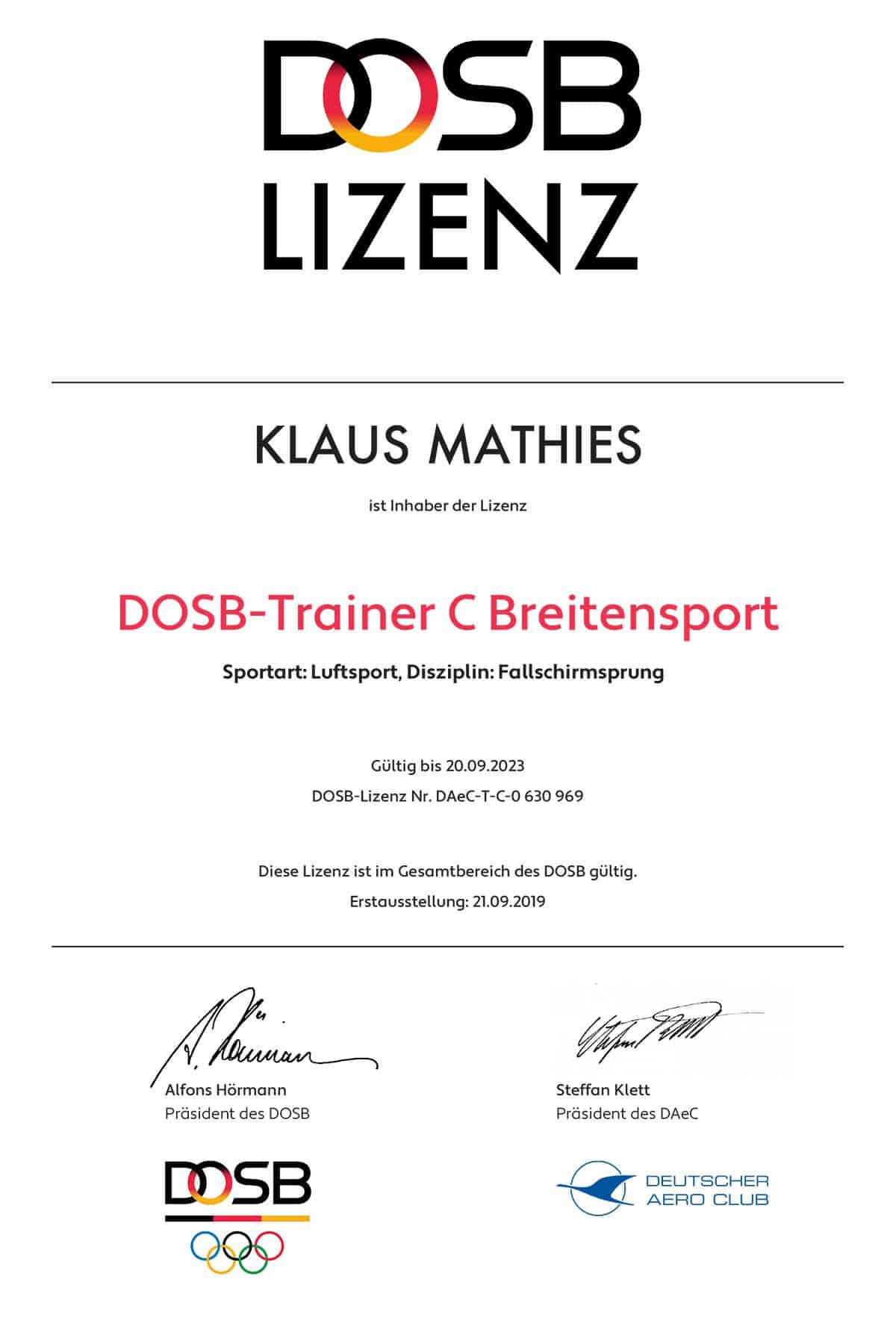 DOSB Trainer C Breitensport für Klaus Mathies