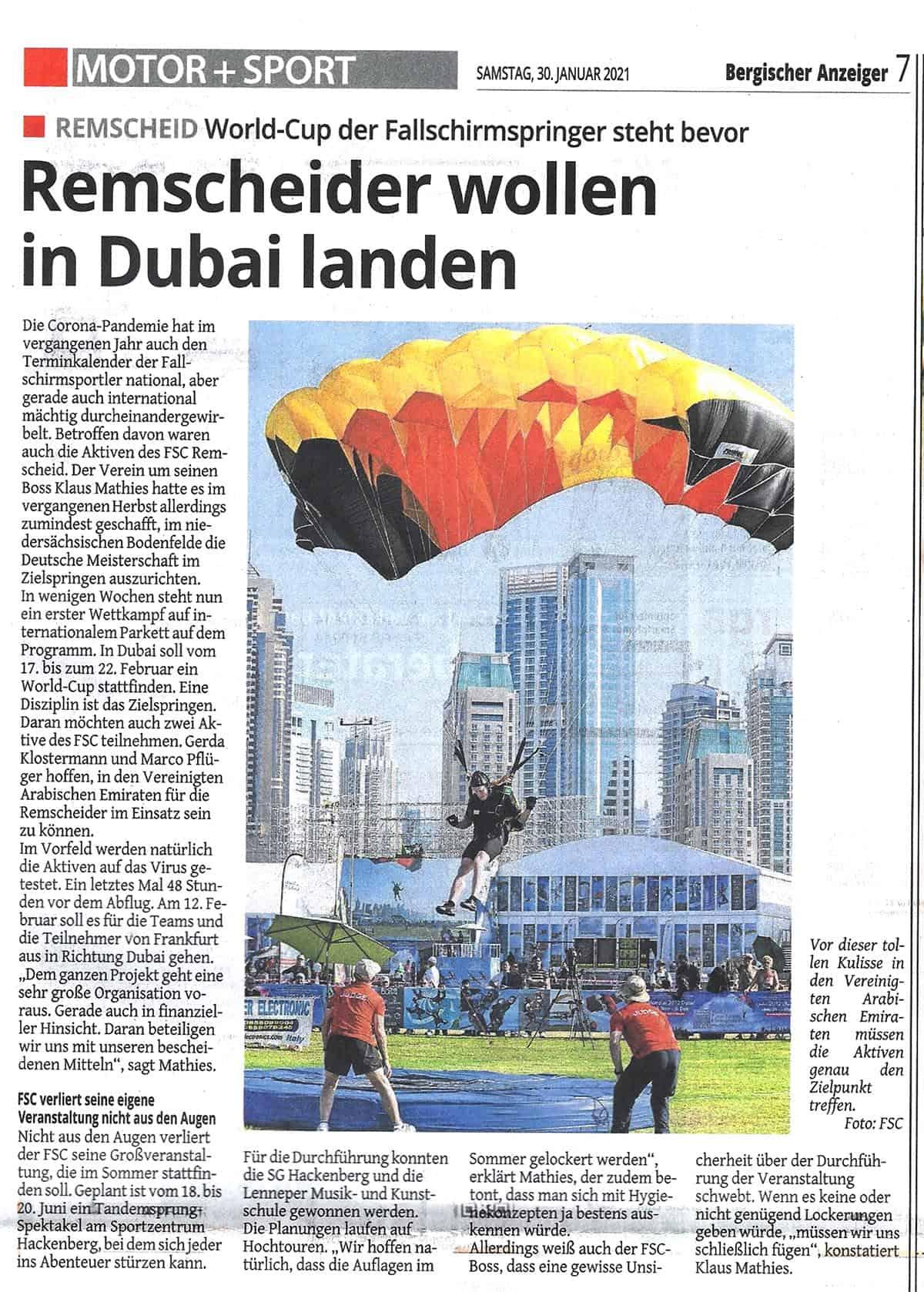 Pressetext Bergischer Anzeiger zu Dubai